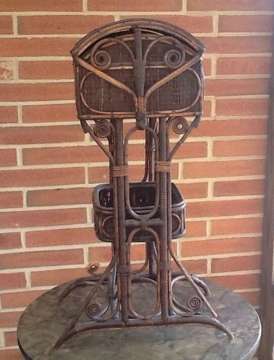 ANTIQUE Victorian NATURAL WICKER  SEWING BASKET STAND