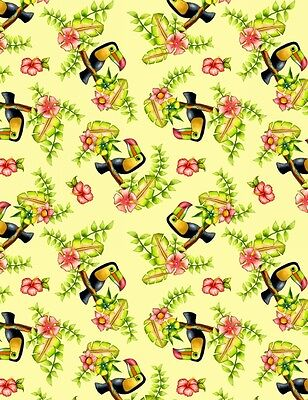 Pink Lady Toucan Bird Hibiscus Flower Fabric on Yellow Beach Tropical Summer