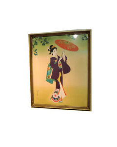 Japanese Geisha Painting on Silk - Hand Painted Traditional Japa