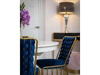 Velvet & Gold Stainless Steel Dining Chair