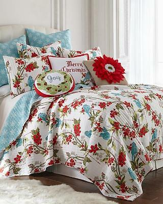 NEW Christmas Holiday Red Floral Blue Birds Snowflakes Reversible KING Quilt