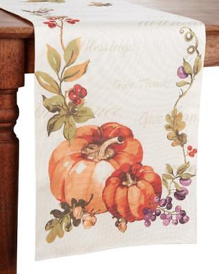 "Thanksgiving Bountiful Pumpkin Table Runner by Arlee Home Fashions 13"" x 72"" NEW"