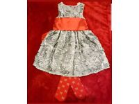 Stunning designer girls silver dress Christmas party wedding christening age 2 3 years