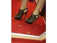 New look black mesh heels size 6
