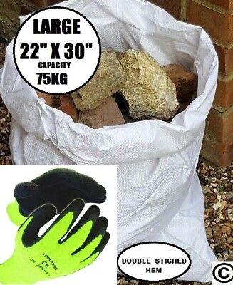 100 Strong Woven Polypropylene Rubble Sacks Bag + Pair Buliders Thermal Gloves