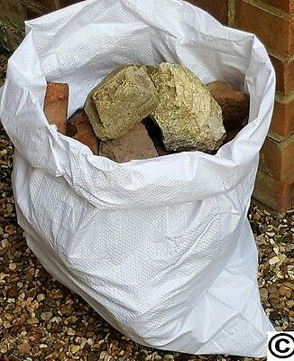 100 Woven Polypropylene Builder Rubble Sacks Bags 50cm x 75cm Hemmed & Stiched