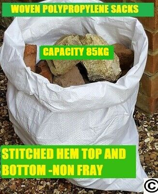 10 SUPER STRONG WHITE WOVEN POLYPROPYLENE HEAVY DUTY RUBBLE BAGS/SACKS BUILDERS