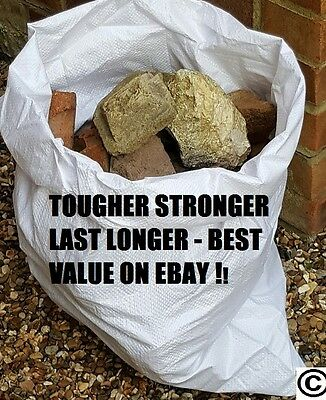 500 x Tough Woven Polypropylene Builder Rubble Sacks Bags.  DOUBLE STITCHED BASE