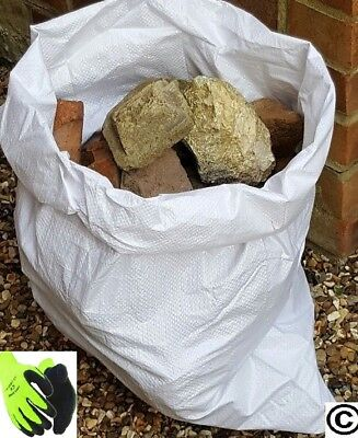 100 x Tough Woven Polypropylene Rubble Sacks Bags + Pair HI Viz Thermal Gloves