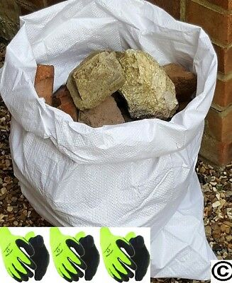 200 Tough Woven Polypropylene Rubble Sacks Bags + 3 Pairs HI Viz Thermal Gloves