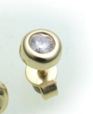 Herren Ohrringe Ohrstecker Gold 750 Brillant 0,10 ct Diamant Gelbgold 5 mm 14 kt ()