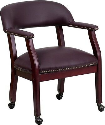Burgundy Leather Luxurious Conference Chair With Casters - Office Chair