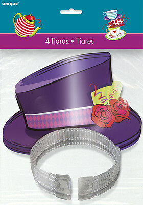 MAD HATTER TEA PARTY PAPER TIARAS (4) ~ Birthday Supplies Favors Hats Alice - Mad Hatter Tea Party Hats