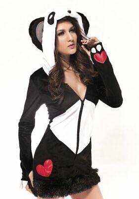Panda Bear Halloween Costume (Sexy Hooded Deluxe Panda Bear Long Sleeve Mini Dress Halloween Costume)