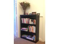 Bookshelf / shelf unit - medium-sized, black faux-wood, good condition