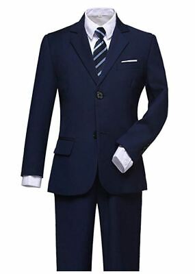 Unbranded Boys Suits Slim Fit Dress Clothes Ring Bearer Outfit Navy Blue Size 14