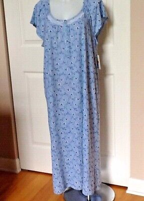Blue Nightgown (Croft & Barrow Knit Cotton Blend Blue Butterfly Long Nightgown Plus size 2X )