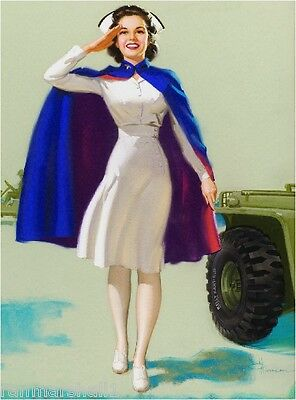 1940s Pin-Up Girl American Red Cross Nurse WW II Picture Poster Print Art - Pin Up Nurses