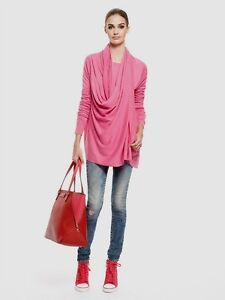 NWT DKNY DONNA KARAN HONEYSUCKLE PINK COZY CASHMERE WRAP LONG CARDIGAN M/L