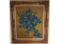 Van Gogh style oil on canvas blue flowers