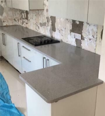 Stardust Light Grey Sparkle Quartz Kitchen Worktop   3000mm x 700mm x30mm