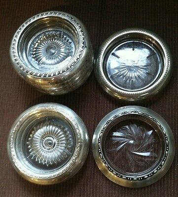 Vintage Sterling Silver And Glass Coasters Lot Of 8 Retro Hostess