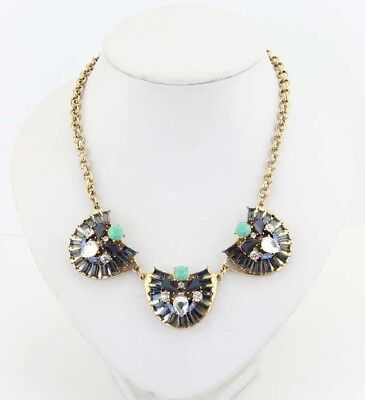 J. CREW Crystal Dome Trio Necklace. Navy Tone. Length 18''+ 3'' Tone Crystal Dome