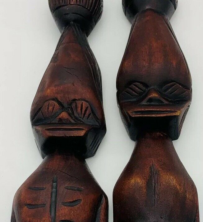 """27""""Tall Tribal Folk Art Old Hand-Carved Couple Rustic Primitive VTG Wall Decor"""