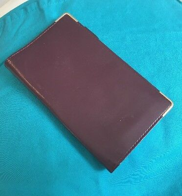 Vintage Gold Gilt Corners Burgundy Memo Notepad Cover Credit Card Holder A53