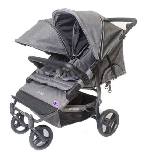 Baby Monsters Easy Twin 2.0 Double Stroller in Texas Grey Melange Free Shipping!