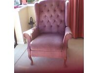 Celebrity upholstery 3 position recliner reclining armchair chair pink