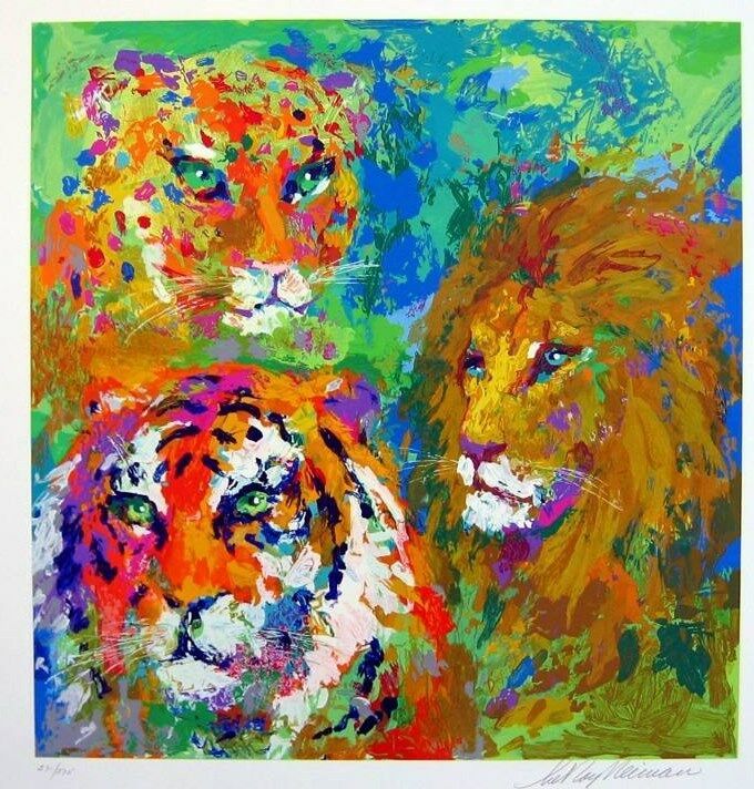 "Leroy Neiman ""family Portrait"" Animal Big Cats Lion Tiger Cheetah Hs/# Serigraph"