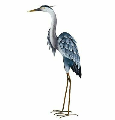 Blue Heron Garden Statue Metal Coastal Bird Outdoor Crane Egret Pond Sculpture