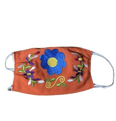 Handmade Embroidered Reusable Face Mask Flowers Mexican Style Artwork Orange