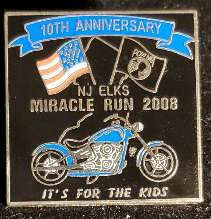 NJ Elks Miracle Run 2008 10th Anniversary Harley Pin For The Kids. X1238