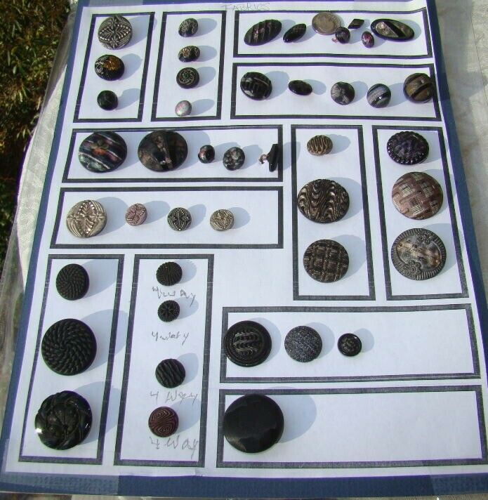 44 Collector Card Victorian ANTIQUE Buttons Black Glass Lacy & Iridescent FABRIC