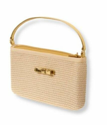 NWT Janie and Jack SAVANNA SOIREE Straw Purse Natural Gold Shimmer Metallic Bag