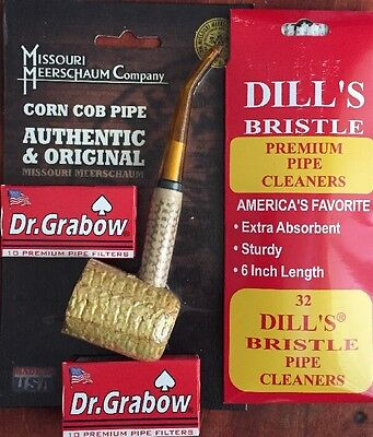 """Missouri Meerschaum """"BENT"""" Corn Cob Pipe Dill's Cleaners & Dr. Grabow Filters"""