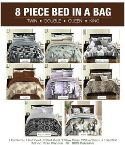 Bed In A Bag-8 pc-Variety of styles-Comforter, Pillow Covers...
