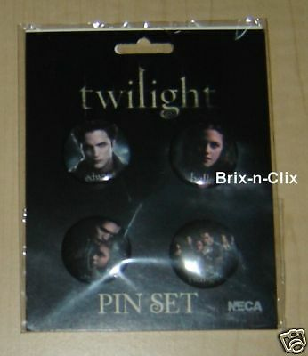 "TWILIGHT Movie 4 pc Pin Set 1.25"" Photo Cast Licensed NECA Brand NEW USA!"