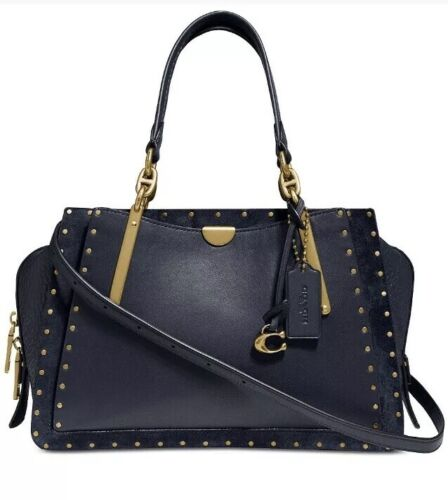 Coach Dreamer Border Rivets Mixed Leather Navy Gold Crossbody Satchel Bag