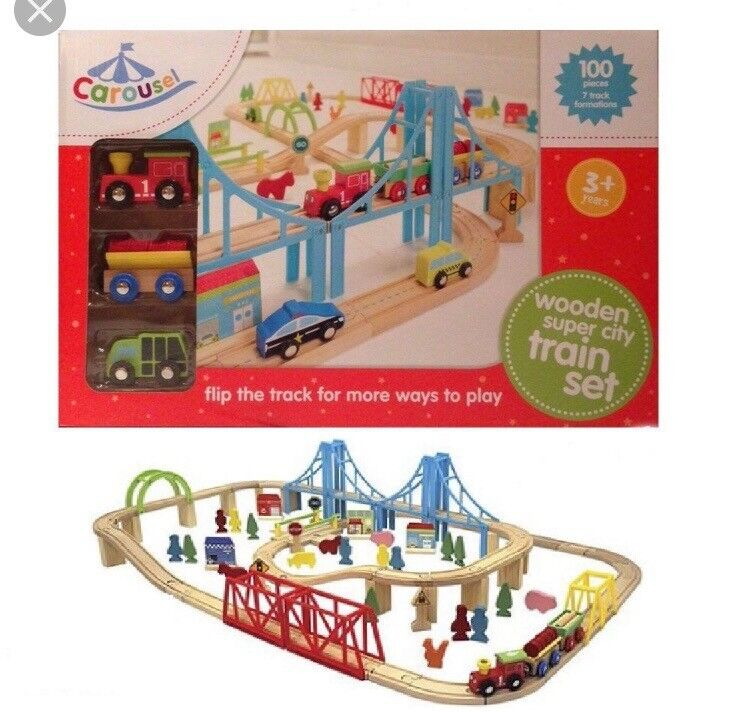 Wooden Railway Train Set Carousel 100 Pieces Extras Included In Uddingston Glasgow Gumtree