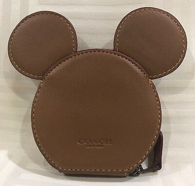 Coach x Disney Mickey Mouse Ears Leather Coin Case: Brown (D6)