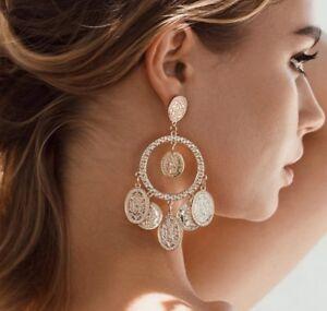 bohemian Boho Coin earrings Tassel Dangle Afghan Arabic Moroccan ethnic ASOS uk