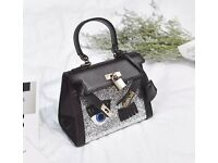 Black Satchel Shoulder CrossBody Bag