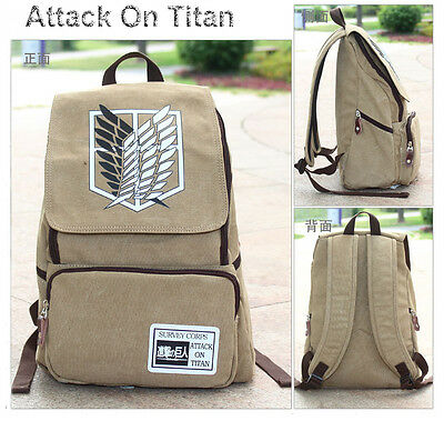 Anime Attack On Titan Canvas Backpack Boy Girls School Bag Outdoor Sport Fashion