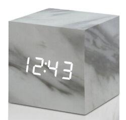 Gingko Cube Click Clock Wooden Alarm Clock (Marble/White LED) GK08W5