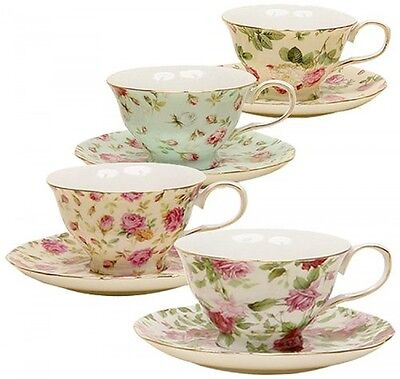 Gracie China Rose Chintz 8-Ounce Porcelain Tea ...