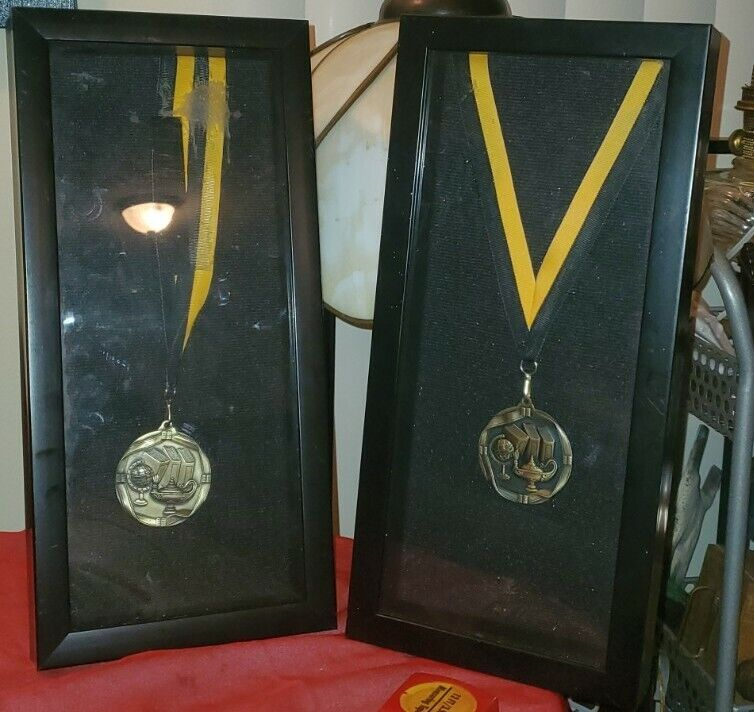 Framed Lamp of Knowledge Satin Medals in Antique Gold Finish Lot of 2