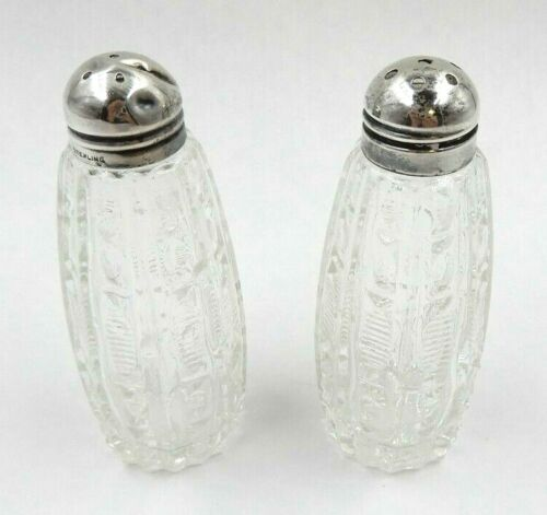 """ANTIQUE SET OF 2 STERLING SILVER CAPPED 3.5"""" TALL SALT AND PEPPER SHAKERS"""